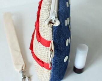 cc7b2adb90 Segnala giorno Pochette USA donna polsino borsa rosso bianco blu borsa  bandiera giorno regalo donne borsa USA bandiera donne borsa make up borsa  bag