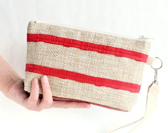 Red white blue birthday gift for women Gift Clutch bag Women bag Flag usa Women handbag Wristlets bag for women USA bag Make up bag purse