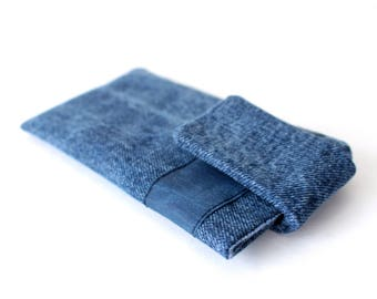 Cell phone pouch iPhone sleeve pouch iPhone 7 case Denim phone pouch Handmade gift Girlfriend Gift sister Gift friend
