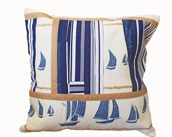 Sailing boat pillow cover Sailboat pillow Blue white Boy pillow case Pillow kids Nautical pillow cover pillow Marine cushion cover Nautical