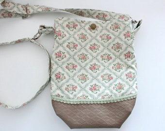 Crossbody bag handbag for women Bag of leatherette fabric Green olive bag Embroidered bag waterproof fabric Floral dessing Gift daughter