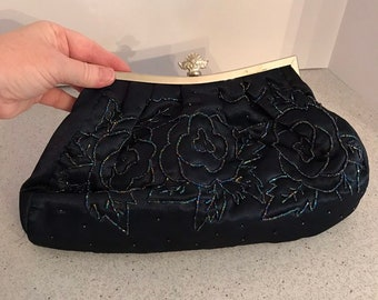 Navy Blue Satin Beaded Evening Bag Converts to Clutch Purse f0ccca59b7c43