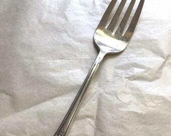 Shabby Chic Flatware Vintage Tablescape 1935 Shelton Serving Fork Cold Meat Fork Vintage Flatware Art Deco Silverplate Fork