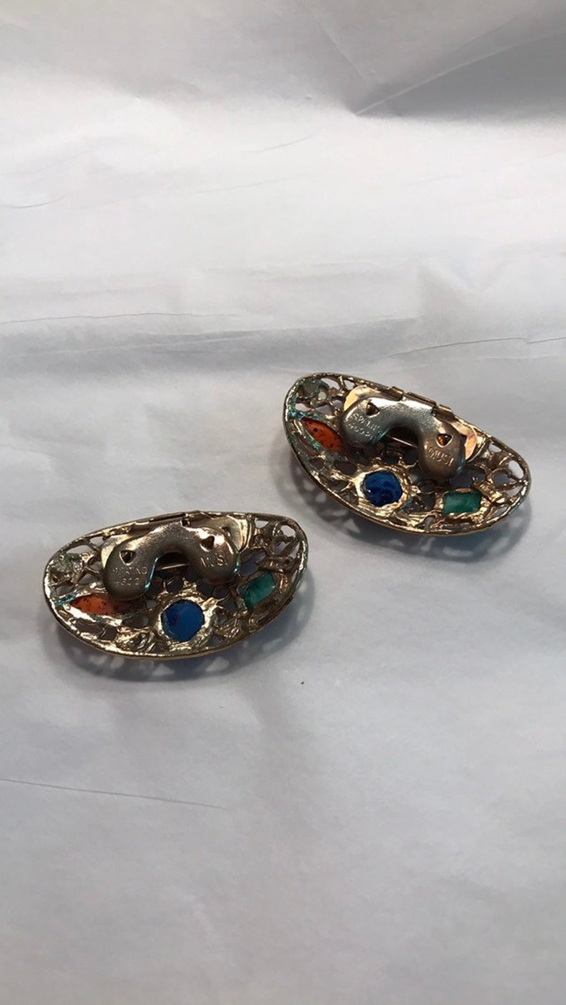 Collectible Gold Tone Clips ON SALE TODAY Vintage Multi Color Shoe Clips by Musi Festive Fun Retro Jewelry for Hatband Handbag or Shoes