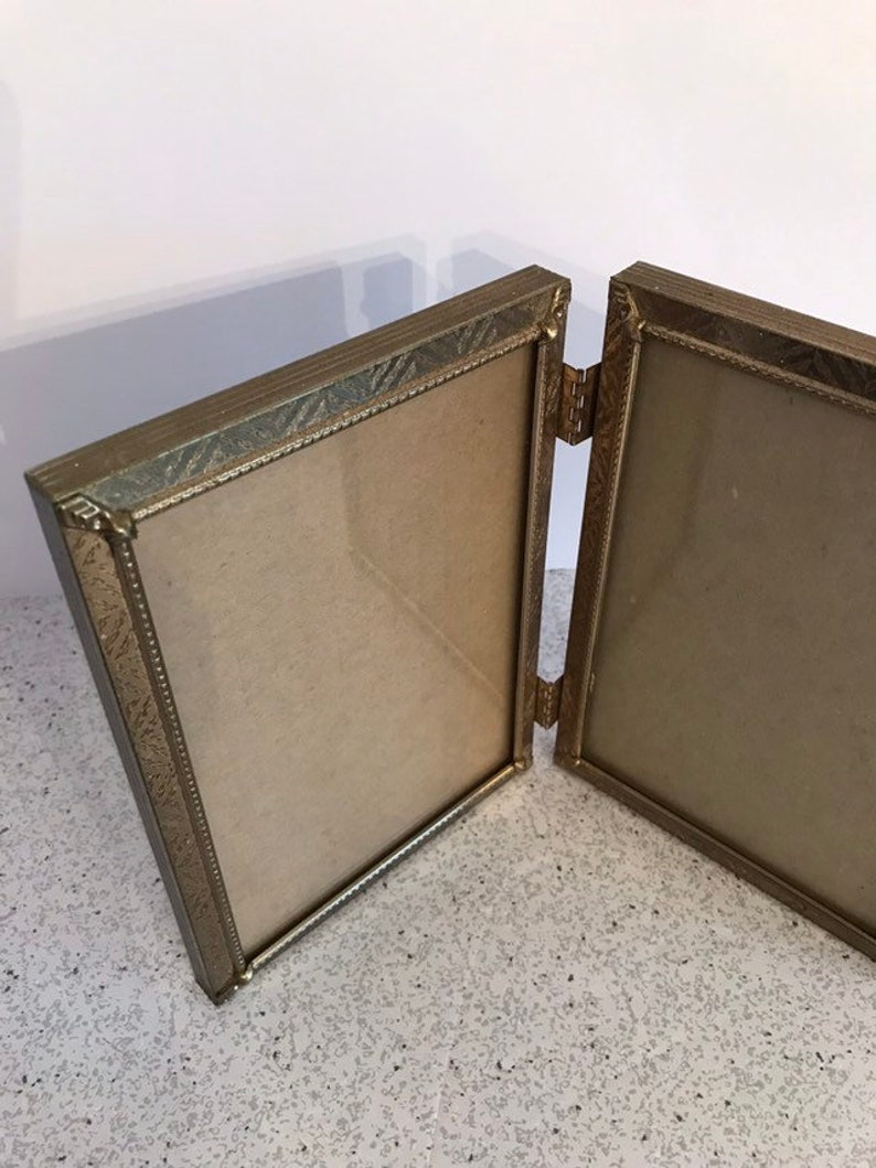 Mid Century Home ON SALE TODAY Vintage Gold Metal Standing Frame Hinged Book Style Textured Embossed Finish Double Picture Photo Holder