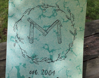 Doodle Art Monogram hand drawn 8x10