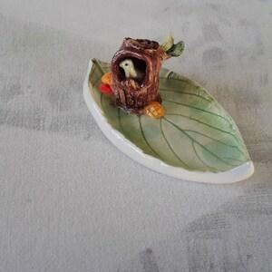 Cat Jewelry Tray Animal Trinket Tray Miniature Art Home Decoration Ceramic Soft Orange Fox Sleeping On A Tree Trunk Leaf Dish