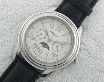 4837a866f23 Nivada Moonphase 41MM Double Date Quartz Stainless Steel Swiss Made Rare  Watch