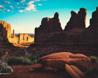 Arches National Park, Desert Art Print, Utah, Landscape Photography, Fine Art Print, Arches Sunrise, Desert Rock Formation, Courthouse Tower