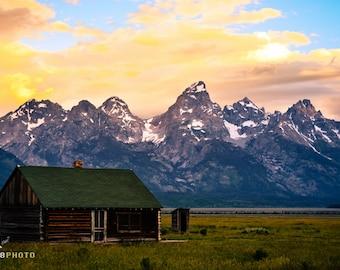 Grand Teton National Park, Gift for Traveler, Landscape Photography, Mountain Range Print, Fine Art Print, Rustic Decor, John Moulton Barn
