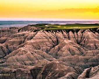 Badlands National Park, Landscape Photography, Colorful Nature, South Dakota, Fine Art Print, Wall Art, Sunset Art, 11x14, Dramatic, Color