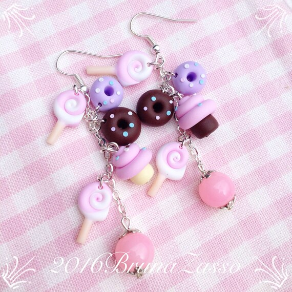 Bijoux fantaisie Orecchini LeccaLecca Lollipop Candy Marshmallow ~ Cute Jar Bottle Earrings Pink Colliers et pendentifs fantaisie