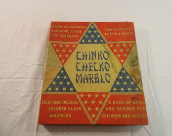 Vintage Chinko Checko Marblo Chinese Checkers Game Complete