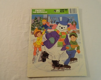 1985 Golden Frame Tray Puzzle Frosty The Snowman Complete