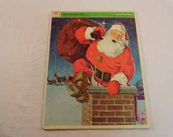 1971 Whitman Frame Tray Puzzle Here Comes Santa Claus Puzzle Number 4528