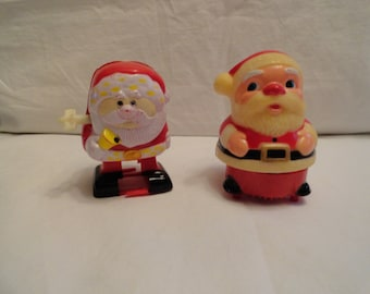 Set of 2 Vintage Wind Up Santas From Fun World Inc