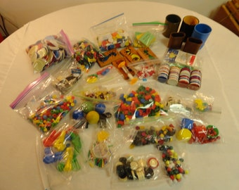 Large Lot Of Various Game Pieces