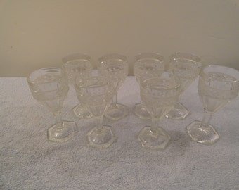 Set Of 8 Etched Glass Cordial Glasses
