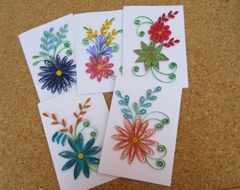 5 Assorted Quilled Cards Birthday Retirement Teacher Appreciation Mothers Day Floral Greeting Card Set Handmade Bulk Ca