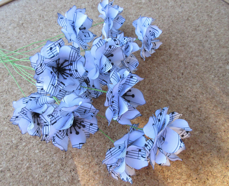 Sheet Music Note Paper Flowers Large Flower Bouquet Boutonniere