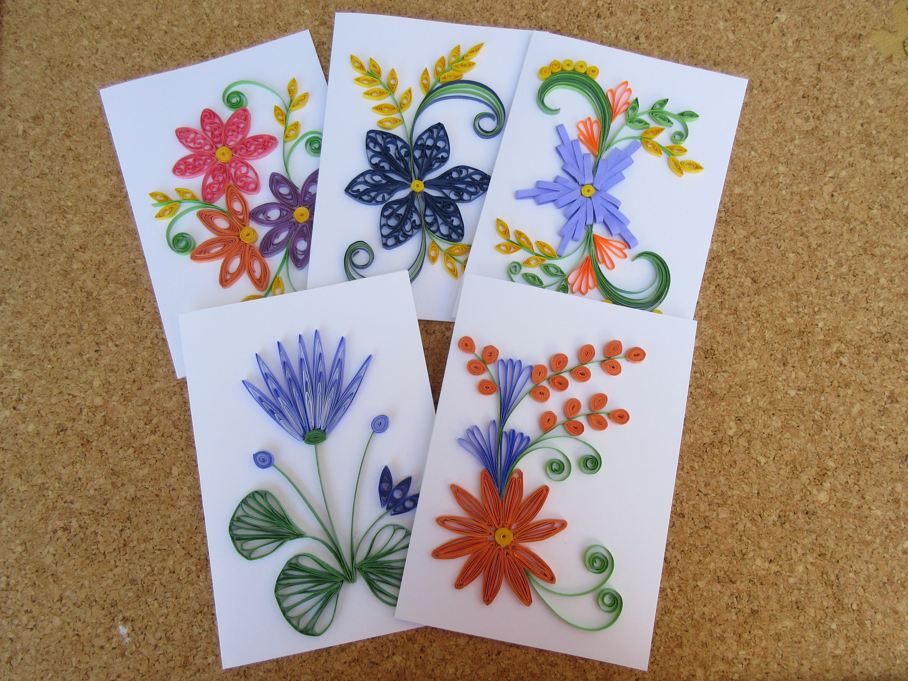 10 Assorted Quilled Cards Free Shipping Birthday Card Etsy