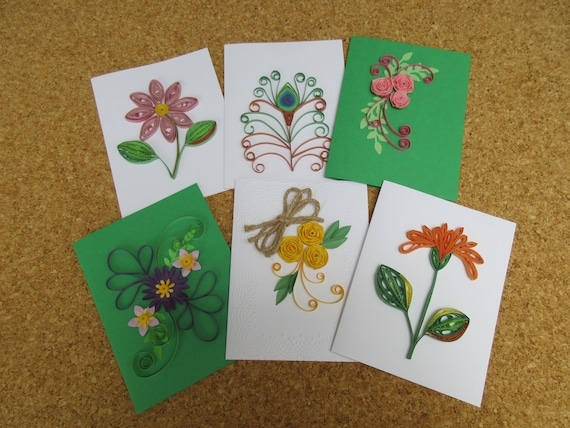 Quilled Cards Unique Assorted Flower Greeting Card Set Small Etsy