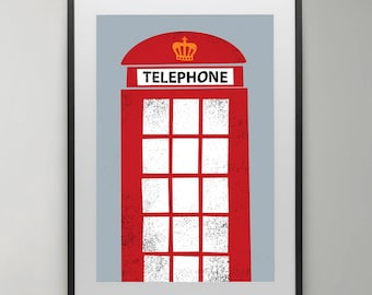 London Red Telephone Box, Illustration, London Art, print, Poster, England Art, Wall Decor, Modern Wall Art, Instant Download, Home decor.