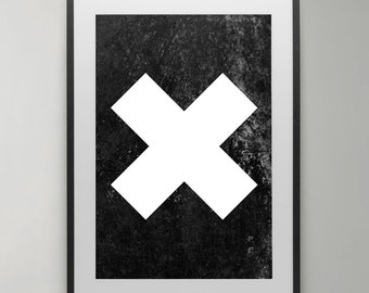 X Print, Cross Print, X poster, Black and White, X wall art, Art Print, Home decor, gift, Abstract Photography, Typography Poster