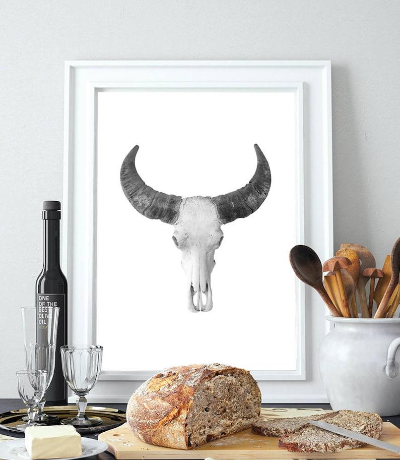 Download Bull Skull Print Animal Skull Cow black and white | Etsy
