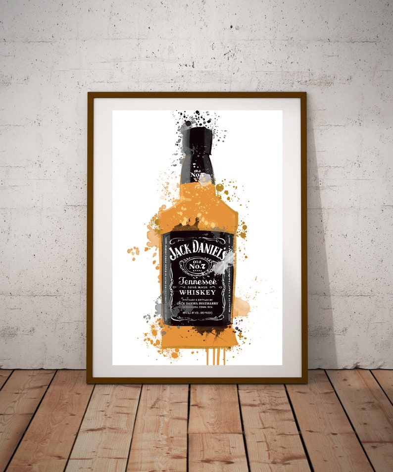 Jack Daniels Wall Art Print Alcohol Wall Art Kitchen Print Fathers Day Gift