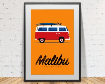 Surfer print, volkswagen van, surfing, Malibu, California, Surfboard, print, Poster, Illustration, Wall Decor, Instant Download, Home decor.