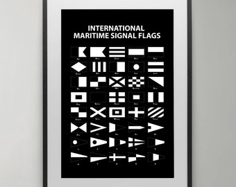 International maritime signal flags, Summer, Alphabet Flags, Poster, Maritime Signal Flag, Typography, Instant Download, Ocean, Home decor.