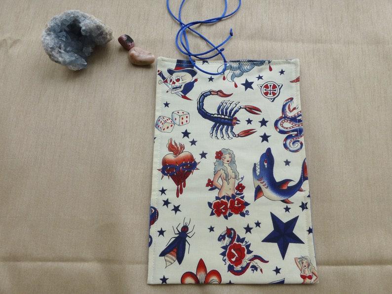 Tattoo Style Tarot Card Wrap, Skull Tarot Card Bag, Naked Lady Tarot Bag,  Batik Tarot Card Wrap, Tarot Spread, Batik Tarot Wrap,