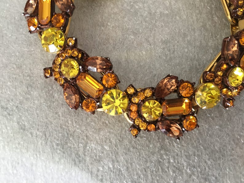 Brown Juliana D/&E Yellow and Topaz Rhinestone and Enamel Bracelet 1494