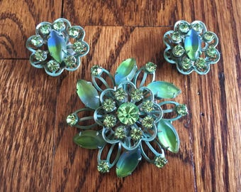 Vintage Green and Givre Green and Blue Rhinestone Flower  Brooch and Earring Set 1481