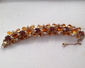 Juliana D&E Clear and Topaz Givre Rhinestone Five Link Bracelet 0468