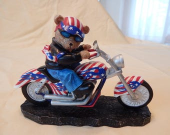 America's Pride from the Faithful Fuzzies Born to Ride Collection Bear on a Motorcycle Figurine