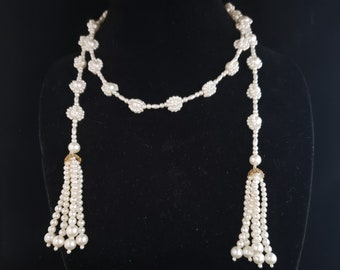 Everyday Wear Elegant Long Imitation Faux Pearl Tassel Wrap Necklace Special Occasion