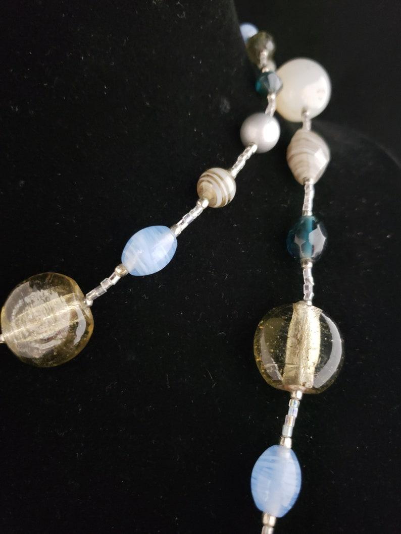 Vintage Adjustable Length Premier Designs Gray Blue White Glass Bead Necklace