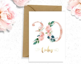 30th Birthday Card For Her Floral