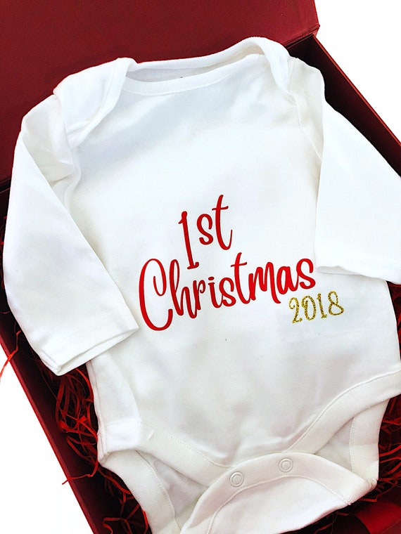 744445f610c9f Baby 1st Christmas outfit My First Christmas Personalised