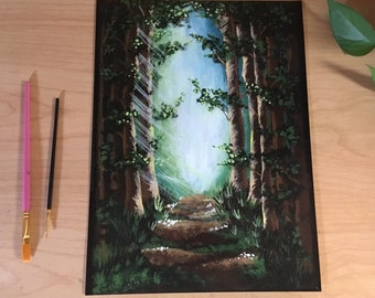 Nature trail print hiking explorer journey art adventure landscape prints acrylic painting