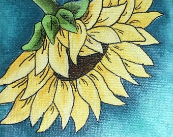 Sunflower painting, sunflower art, yellow flower, flower decor, wall art, acrylic painting,