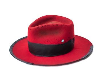 BRISE-COEUR - wool / rabbit felt fedora - vitage look distressed hat