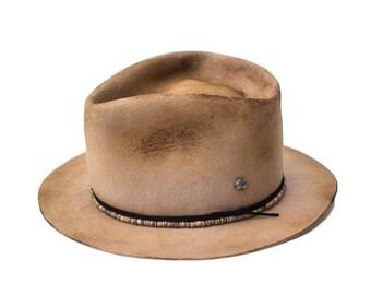 BRINGUETTE - wool / rabbit felt fedora - vitage look distressed hat