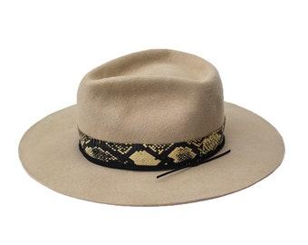 PITHON - wool / rabbit felt fedora - vitage look distressed hat