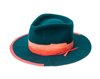 AURORE - wool / rabbit felt fedora - vitage look distressed hat