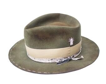 CIGALE - wool / rabbit felt fedora - vitage look distressed hat
