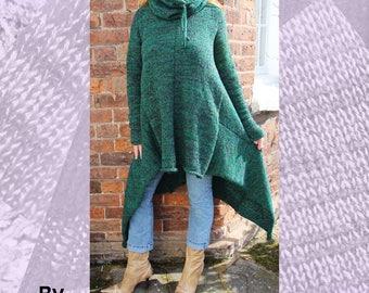 Hooded Poncheater Machine Knitting Pattern