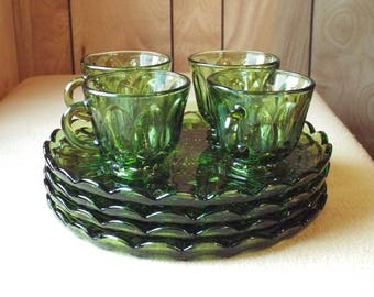 Vintage Anchor Hocking Glass Snack Plates with Teacups